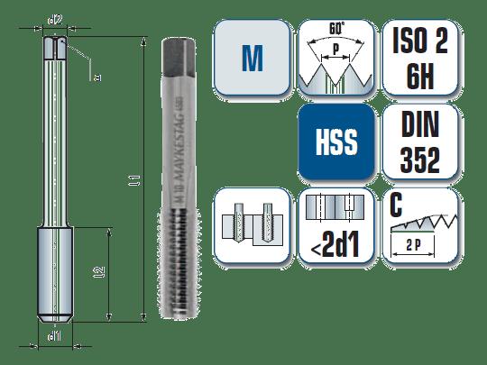 Gewindeschneider DIN 352 HSS-G M2 Nr.3 Fertigschneider Gewindebohrer