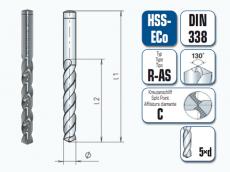 HSS-ECo Spiralbohrer. Kurz. DIN 338 R-AS
