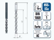 HSS-ECo Spiralbohrer. Überlang. DIN 1869 R1 Forte