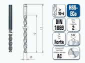 HSS-ECo Spiralbohrer. Überlang. DIN 1869 R2 Forte