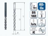 HSS-ECo Spiralbohrer. Überlang. DIN 1869 R3 Forte