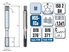 Maschinengewindebohrer gerade genutet, für metrisches ISO- Gewinde DIN 13