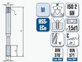 Maschinengewindebohrer spiral-genutet, für metrisches ISO- Gewinde DIN 13