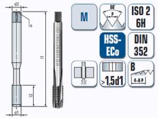 Maschinengewindebohrer, kurz, gerade genutet, für metrisches ISO Gewinde DIN 13