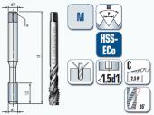 Maschinengewindebohrer, kurz, spiral-genutet, für metrisches ISO Gewinde DIN 13