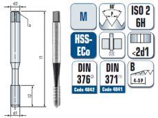 Maschinengewindebohrer, mit ausgesetzten Zähnen, gerade genutet, für metrisches ISO Gewinde DIN 13