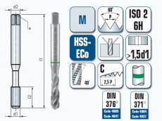 Maschinengewindebohrer, spiral-genutet, für metrisches ISO Gewinde DIN 13