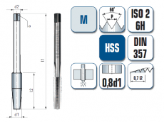 Maschinengewindebohrer, gerade genutet, für metrisches ISO Gewinde DIN 13