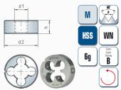 Schneideisen für metrisches ISO-Gewinde DIN13, links