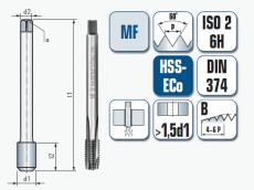Maschinengewindebohrer, gerade genutet, für metrisches ISO-Feingewinde DIN 13