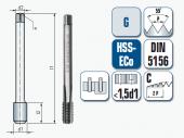 Maschinengewindebohrer, gerade genutet, für Whitworth-Rohrgewinde DIN ISO 228