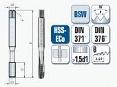 Maschinengewindebohrer, gerade genutet, für Whitworth-Gewinde BSW, DIN11