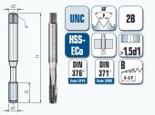 Maschinengewindebohrer, gerade genutet, für Unified Grobgewinde UNC ANSI B 1.1