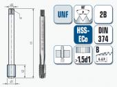 Maschinengewindebohrer, gerade genutet, für Unified Feingewinde UNF ANSI B1.1
