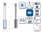 Handgewindebohrer, gerade genutet, für metrisches ISO Gewinde DIN 13, links