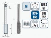 Handgewindebohrer, gerade genutet, für metrisches ISO-Gewinde DIN 13