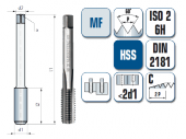 Handgewindebohrer, gerade genutet, für metrisches ISO-Feingewinde DIN 13
