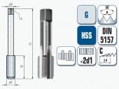 Handgewindebohrer, Gerade genutet, für Whitworthrohrgewinde DIN ISO 228