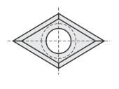 Standard  Raute 4 Schneidekanten mit 1 Loch
