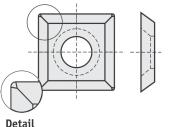 Standard  quadratisch 4 Schneidekanten mit 1 Loch und abgerundete Ecken