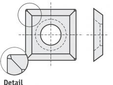 Standard Wendeschneidplatten quadratisch 4 Schneidekanten mit 1 Loch und abgerundete Ecken