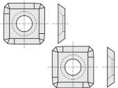 Standard  quadratisch 4 Schneidekanten mit 1 Loch und stark abgerundete Ecken
