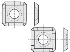 Standard Wendeschneidplatten quadratisch 4 Schneidekanten mit 1 Loch und stark abgerundete Ecken