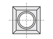 Spezial  quadratisch 4 Schneidekanten mit 1 Loch