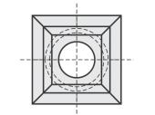 Standard  quadratisch 4 Schneidekanten mit 1 Loch mit großer Bohrung