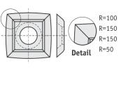 Standard  quadratisch 4 gebogene Schneidekanten mit 1 Loch