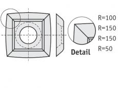 Standard Wendeschneidplatten quadratisch 4 gebogene Schneidekanten (1 Loch)
