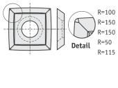Standard  quadratisch 4 gebogene Schneidekanten mit 1 Loch und abgerundete Ecken