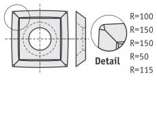 Standard Wendeschneidplatten quadratisch 4 gebogene Schneidekanten mit 1 Loch und abgerundete Ecken