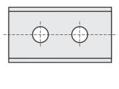 Standard  Rechteck 2 Schneidekanten mit 2 Löchern und 2 Schneidekanten
