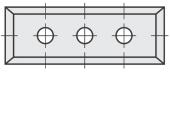 Standard  Rechteck 4 Schneidekanten mit 3 Löchern