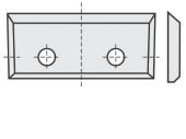 Standard  Rechteck mit 2 Löchern und 4 Schneidekanten