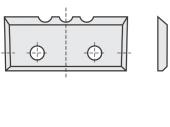 Standard  Rechteck 4 Schneidekanten mit 2 Löchern und 3 Einkerbungen
