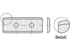 Spezial Wendeschneideplatten Rechteck  mit abgerundete Schneidekanten und 2 Löchern