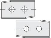 Standard  Rechteck 2 angewinkelte Schneidekanten mit 2 Löchern