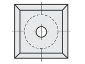 Standard  quadratisch 4 Schneidekanten mit 1 Loch diverse Bohrungen