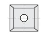 Standard  quadratisch 4 Schneidekanten mit 1 Loch mit kleiner Bohrung
