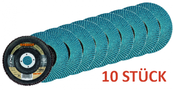10 x Lamellenschleifscheibe Rhodius LSZ F2 - 125 Korn 80