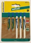 Wolfcraft 5 tlg. Stichsägeblatt Set  Restposten - Black&Decker Aufnahme (U Schaft)
