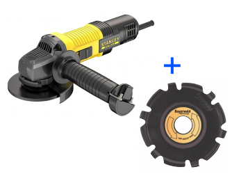 SET: Bayerwald Woodcarver Ø115 mm inkl. Stanley FatMax Winkelschleifer 850 W